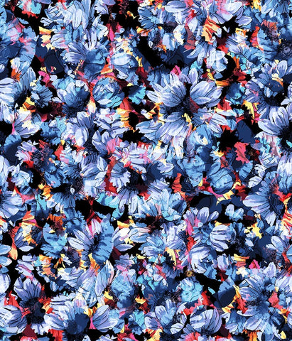 Floral Large Daisy Frenzy Blue
