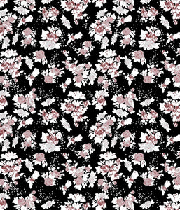 Floral Large Antique Rose Black/Peach P