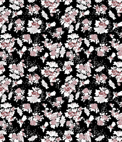 Floral Large Antique Rose Black/Peach