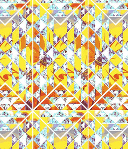 Geometric Large Floral Shapes Collide Yellow P