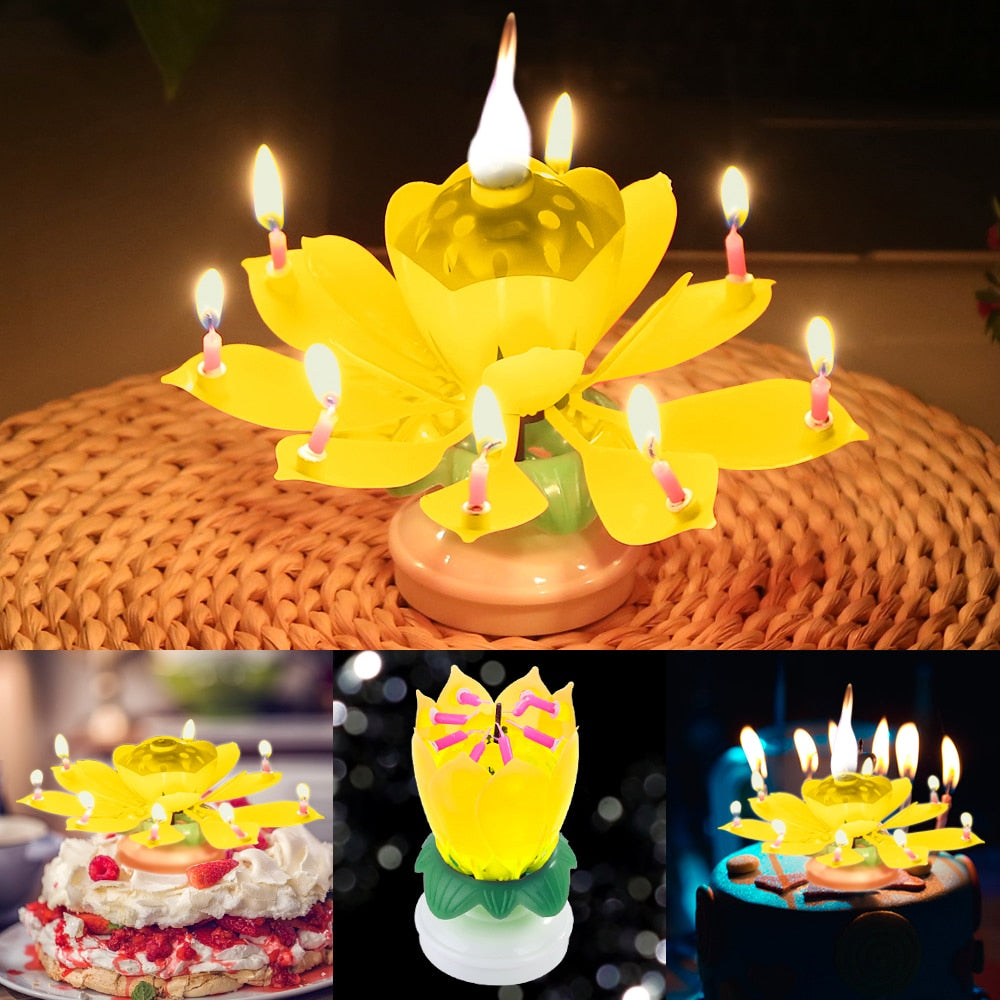 Beautiful Party Decor Musical Lotus Flower Flame Happy Birthday Cake Party Gift Lights Rotation Decoration Candles Lamp Surprise Clients First Home & Garden