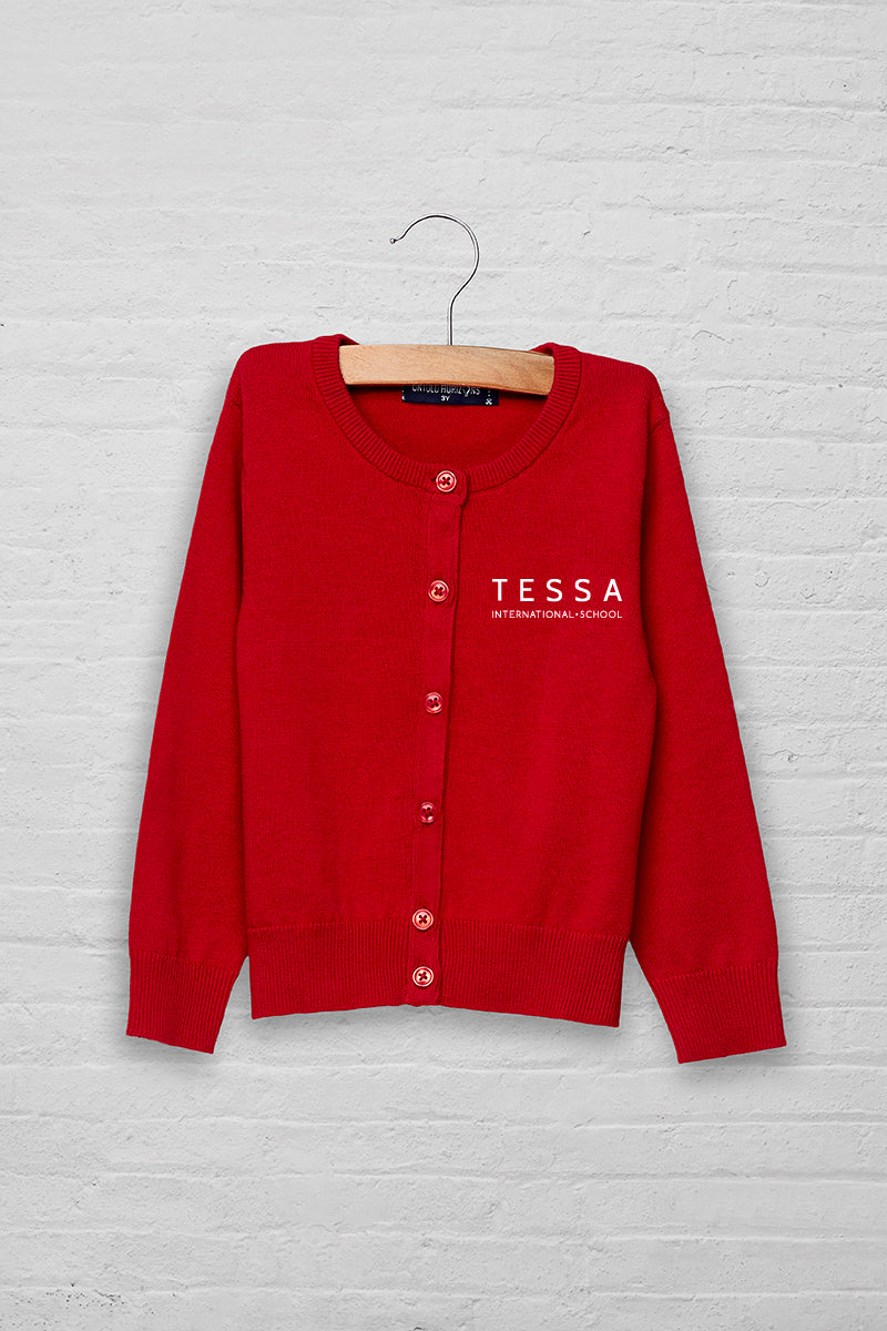 Girls Logo Button Front Sweater Cardigan