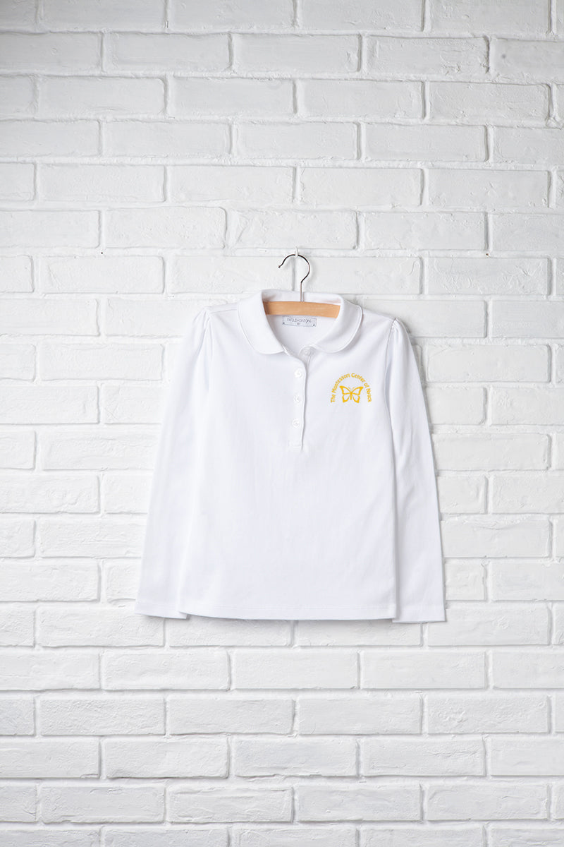 Girls Long Sleeve Peter Pan Polo with Embroidery Logo