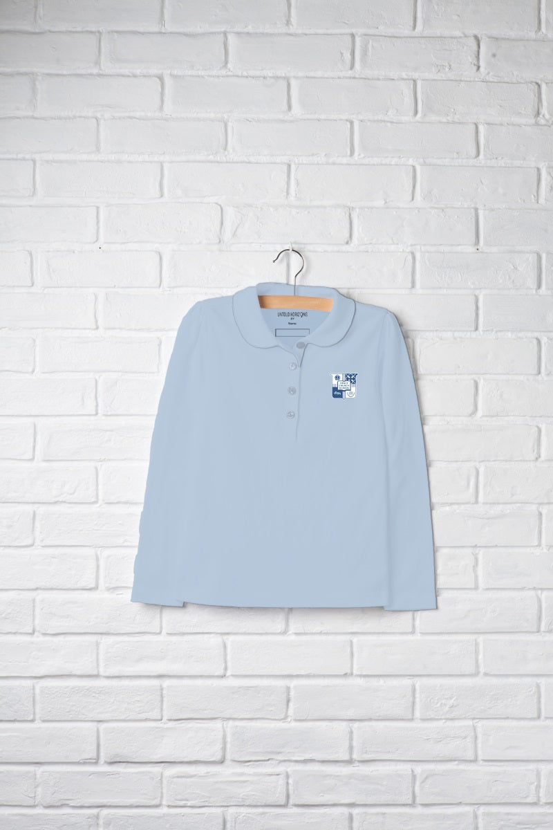 Girls Long Sleeve Peter Pan Polo