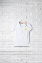 Girls Short Sleeve Peter Pan Polo with Embroidery Logo