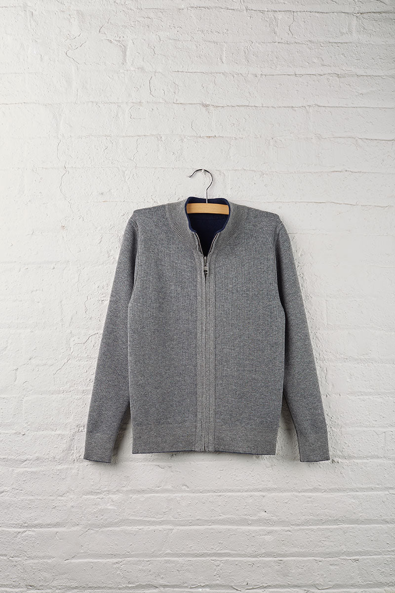 Girls Reversible Full Zip Sweater Cardigan