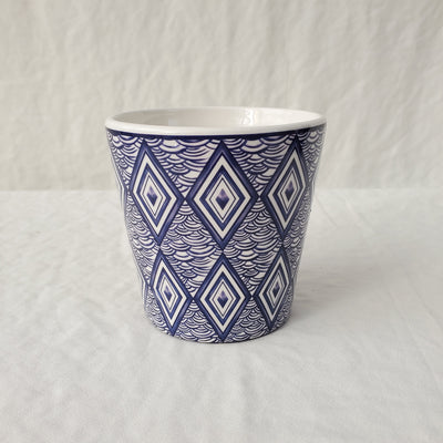 Ceramic Dark Blue and White Pot