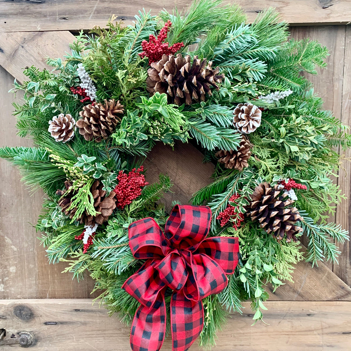 Sun Harvest Signature Buffalo Check Wreath