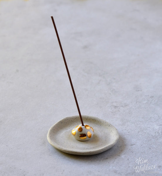 KIM WALLACE Incense Holder with Gold Lustre - Spots