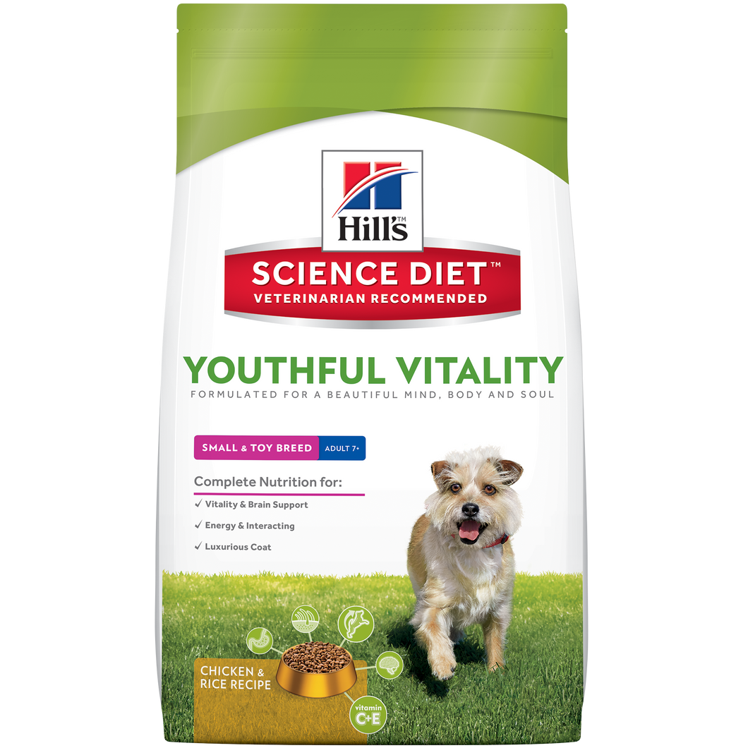 Hill's Science Diet Canine Youthful Vitality Small & Toy Breed Adult 7+ Dry Dog Food 12.5LBS