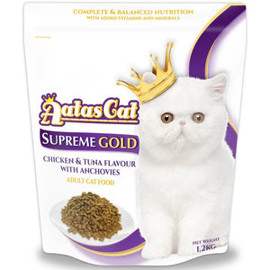 Aatas Cat Supreme Gold Chicken & Tuna Flavour with Anchovies Dry Cat Food 1.2KG