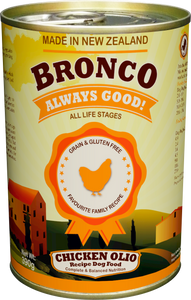 Bronco Chicken Olio Dog Food (24x390G)