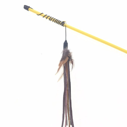 Cat Teaser Feather Wand (Black/Yellow)