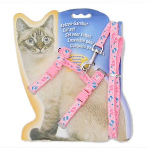 Adjustable Nylon Strap Cat Harness Leash (Pink)