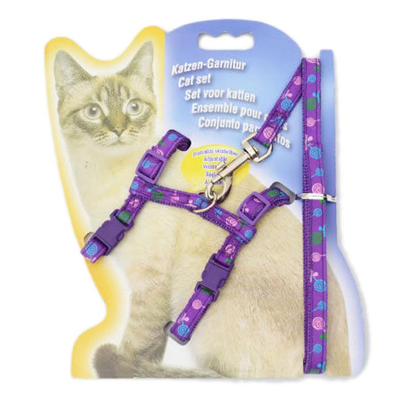 Adjustable Nylon Strap Cat Harness Leash (Purple)