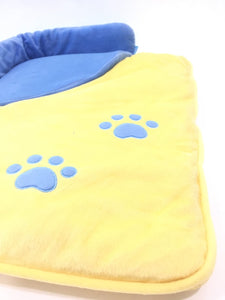 Dog Paw Bed - Blue & Yellow