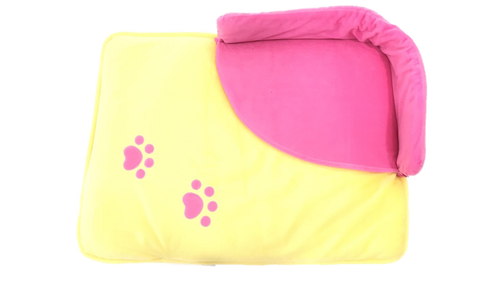 Dog Paw Bed - Pink & Yellow