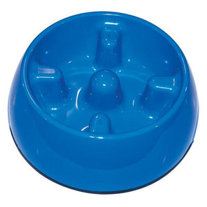 Dogit Go-Slow Anti-Gulping Dog Bowl - Blue (S/M/L)