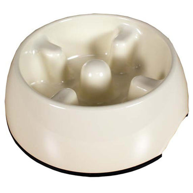 Dogit Go-Slow Anti-Gulping Dog Bowl - White (M/L)