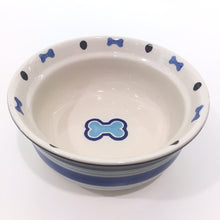 Bone Ceramic Dog Bowl - Blue