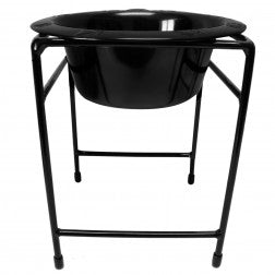 Modern Single Raised Feeder Wide Rimmed Dog Bowl - Black (64oz)