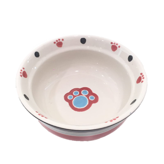 Paw Ceramic Dog Bowl - Red