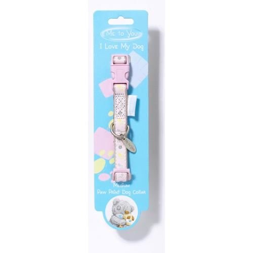 Me To You Paw Print Dog Collar - Pink