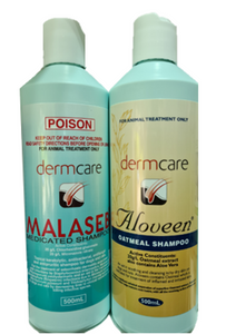 Dermcare Aloveen Oatmeal Shampoo (500ml) / Dermcare Malaseb Medicated Shampoo (500ml) / Aloveen Oatmeal Intensive Conditioner (500ml)