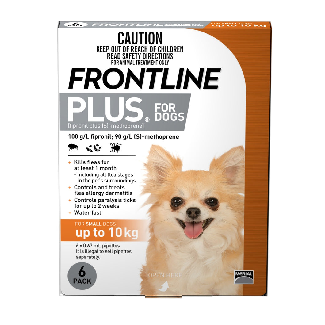 FRONTLINE PLUS SMALL DOGS Up to 10KG (6 Pack)