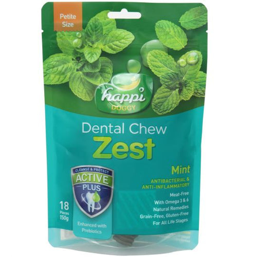 Happi Doggy Dental Chew Zest Mint (150g)