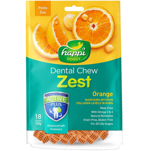 Happi Doggy Dental Chew Zest Orange (150g)