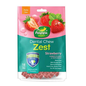Happi Doggy Dental Chew Zest Strawberry (150g)