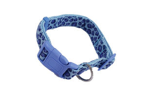 Leopard Print Buckle Adjustable Collar Pet Harness (Blue)