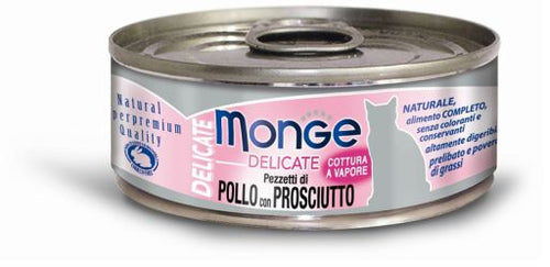 Monge Delicate Chicken With Ham Canned Cat Food (6x24x80g)