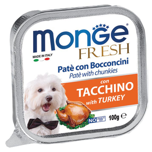 Monge Fresh Tacchino with Turkey Pate with Chunkies Tray Dog Food