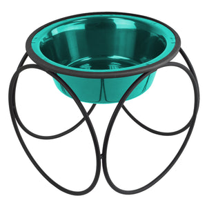 Platinum Pets Modern Stainless Steel Dog Food Bowl (Large Size) - Caribbean Teal