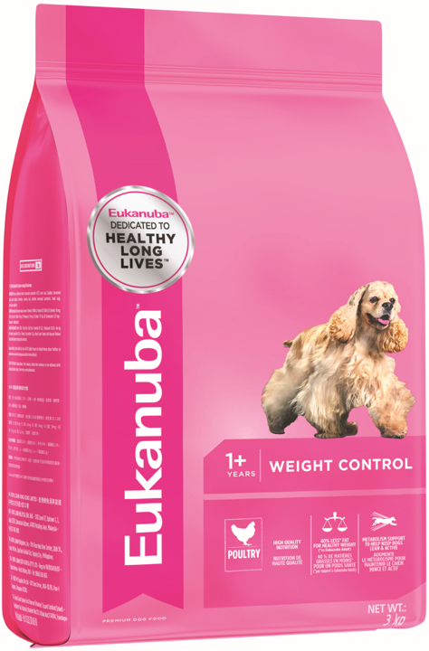 Eukanuba Adult Weight Control Small & Medium Breed Chicken Dry Dog Food (3KG/15KG)