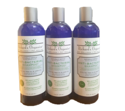 3 x Richard's Organics Anti-bacterial Shampoo for Dogs & Puppies over 8 weeks