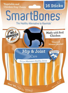 Value Pack 2 x SmartBones Hip & Joint Care Chicken Chews Dog Treats, 16 sticks