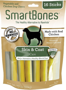 SmartBones Skin & Coat Care Chicken Chews Dog Treats, 16 sticks