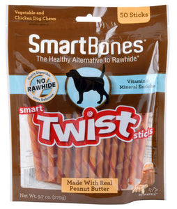 SmartBones Twist Sticks Peanut Better (50 Sticks) Dog Treats