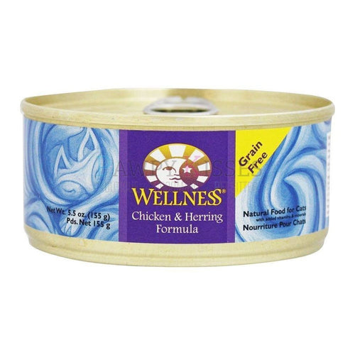 Wellness Chicken & Herring Canned Cat Food (3x24x155g)