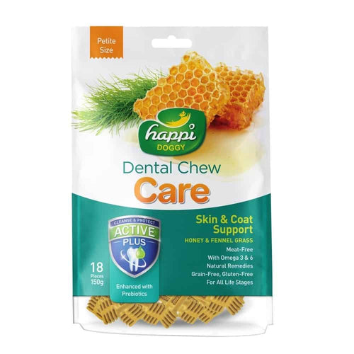 Happi Doggy Dental Chew Care Skin & Coat Support Honey & Fennel Grass (150g)