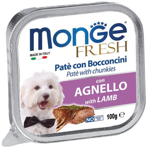 Monge Fresh Agnello with Lamb Pate with Chunkies Tray Dog Food (6x24x100g)