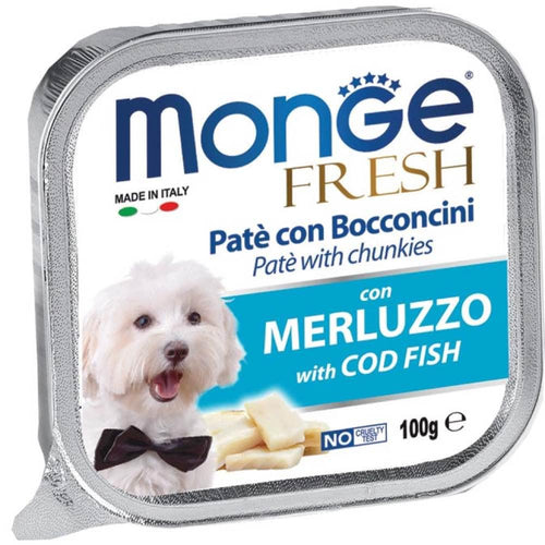 Monge Fresh Merluzzo with Cod Fish Pate with Chunkies Tray Dog Food