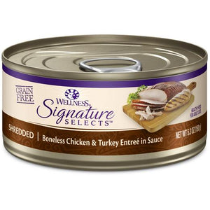 Wellness Signature Selects Shredded Chicken & Turkey Canned Cat Food (3x24x150g)