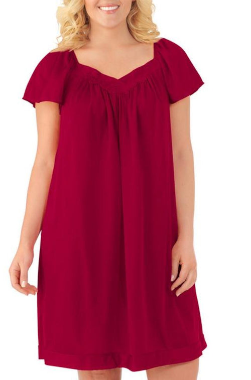 Flutter Sleeve Knee Length Nightie (Sangria)
