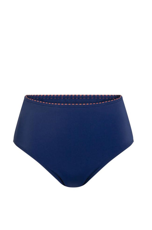 Alabama High Waist Swim Bottoms (Navy & Rust)