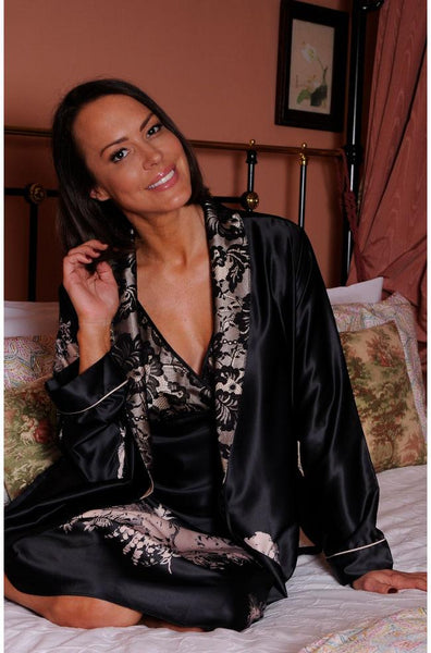 Angelique Satin Calf Length Robe ( Black & Latte)