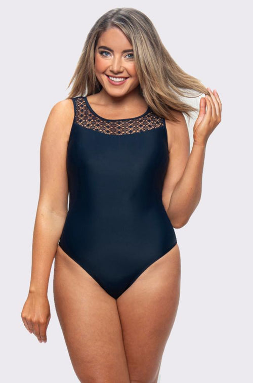 Lace Yoke One Piece Swimsuit (Navy)